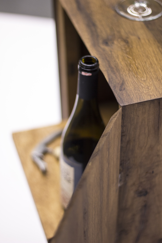 Oak wine cabinet detail