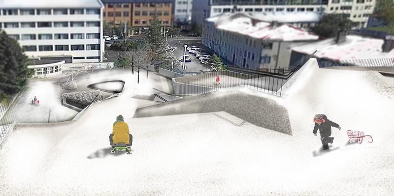 Town centre ski slope