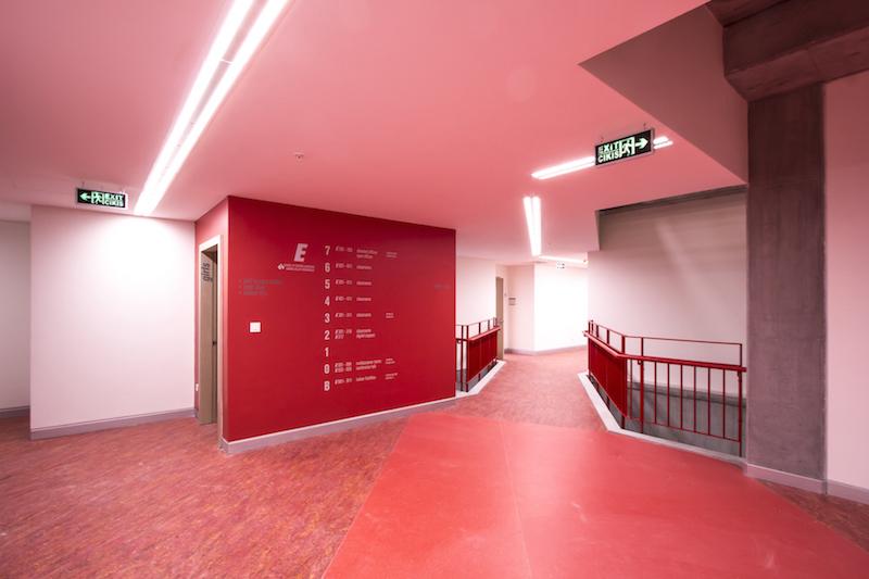 Red classroom hall